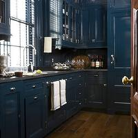 Miles Redd - kitchens - blue kitchen, blue cabinets, blue kitchen cabinets, lacquer backsplash, blue lacquer backsplash, gray countertops, grey countertops, blue fridge, blue paneled fridge, blue refrigerator, blue paneled refrigerator, lacquer fridge, lacquered refrigerator, blue lacquer refrigerator, blue lacquer fridge, wide plank floor,