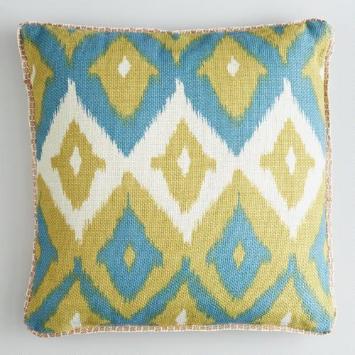 Green Ikat Throw Pillow : Green Ikat Print Burlap Throw Pillow - World Market