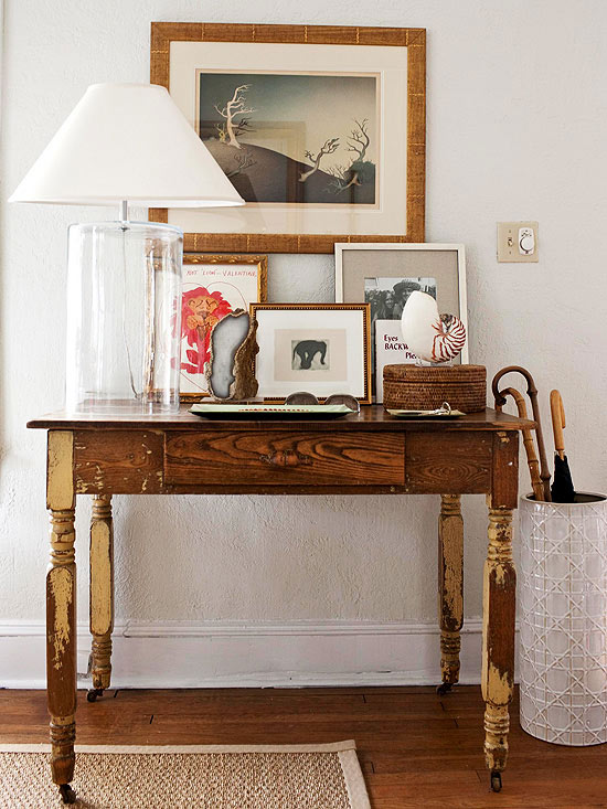 Foyer Table Vignettes : Distressed farmhouse console table country entrance