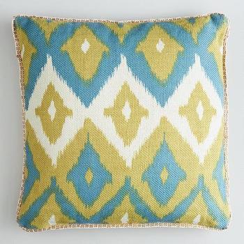 Green Ikat Print Burlap Throw Pillow, World Market