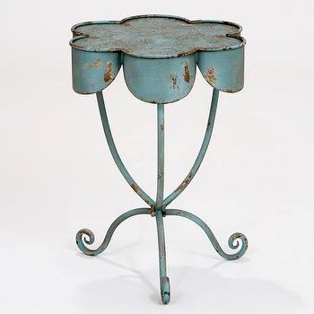 Tables - Flower Olivia Accent Table | World Market - vintage accent table, distressed blue accent table, weathered blue accent table,