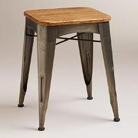 Seating - Brayden Metal and Wood Stool | World Market - industrial stool, metal and wood stool, industrial backless stool,