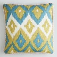 Pillows - Green Ikat Print Burlap Throw Pillow | World Market - green and blue ikat pillow, green ikat pillow, ikat pillow, green ikat print burlap pillow,