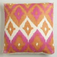 Pillows - Red Ikat Print Burlap Throw Pillow | World Market - pink and orange pillow, pink and orange ikat pillow, ikat pillow, pink and orange ikat print pillow,