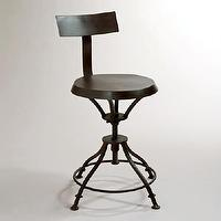 Seating - Chase Stool with Removable Back | World Market - black industrial barstool, industrial barstool, black iron barstool,