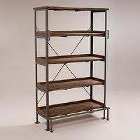 Seating - Emerson Shelf with Step | World Market - industrial bookshelf, industrial wood and steel bookcase, wood and steel bookcase, industrial bookcase with step,