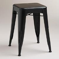Seating - Smoke Arlo Stool | World Market - black metal stool, black backless stool, black industrial stool,