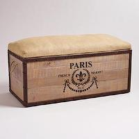 Decor/Accessories - Paris Storage Trunk | World Market - french storage trunk, vintage style storage trunk, burlap topped storage trunk, storage trunk,