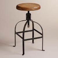 Seating - Twist Swivel Stool | World Market - draftsman stool, iron swivel stool, curved metal stool, vintage backless stool,