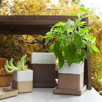 Decor/Accessories - Earth Tone Planters | west elm - modern terracotta planters, modern terracotta plant pots, dipped terracotta planters,