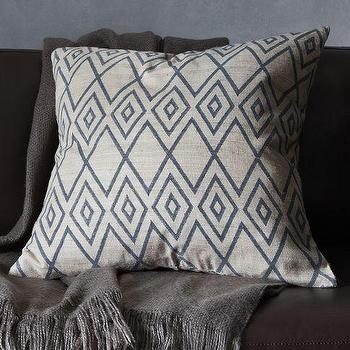 Pillows - Hand-Blocked Ink Rhombus Pillow Cover | west elm - hand-blocked ink pillow, gray and blue geometric pillow, gray and blue silk pillow, gray and blue silk geometric pillow,