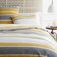 Bedding - Sol Stripe Duvet Cover + Shams | west elm - gray and yellow bedding, gray and yellow striped duvet, gray and yellow striped bedding,