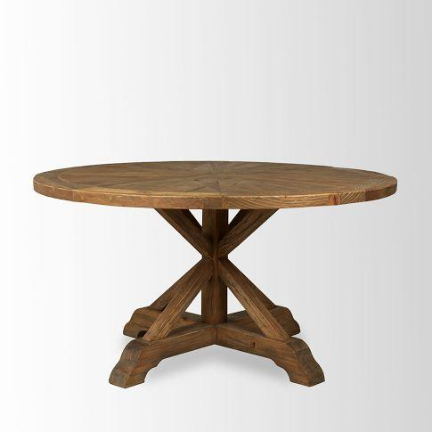 Bleached Pine Round Dining Table West Elm