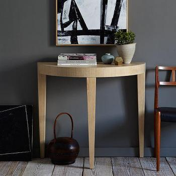 Tables - Alice Demilune Console | west elm - weathered oak demilune, oak demilune console, demilune table, demilune entry table,
