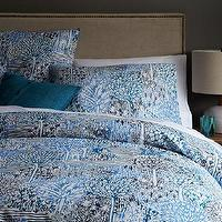 Bedding - Sarah Campbell Organic Garden Path Duvet Cover + Shams | west elm - blue tree bedding, blue bedding, modern blue bedding, blue floral print bedding,