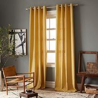 Window Treatments - Linen Cotton Grommet Window Panel - Desert Marigold | west elm - yellow linen cotton drapes, yellow grommet window panel, yellow linen grommet panel, yellow curtain panel, yellow grommet curtains,