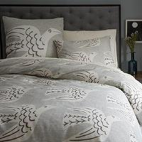 Bedding - Cubist Bird Duvet Cover + Shams | west elm - gray bird bedding, gray screen printed bedding, bird motif bedding, gray bird patterned duvet cover,