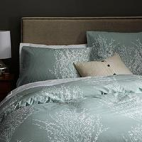 Bedding - Organic Sakura Duvet Cover + Shams | west elm - gray green bedding, green cherry blossom bedding, duck egg blue bedding, cherry blossom bedding,