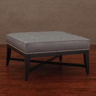 Seating - Valencia Charcoal Leather Nail Head Ottoman | Overstock.com - gray tufted leather ottoman, tufted gray leather ottoman with nailhead trim, gray leather ottoman,