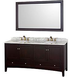 Audrey Espresso 72-Inch Solid Oak Double Bathroom Vanity, Overstock.com