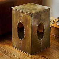 Tables - Steel Square Rivet Copper-colored Stool (India) | Overstock.com - copped colored stool, industrial style stool, riveted steel stool, square steel stool,