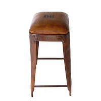 Seating - Hudson Yards Roads Leather Stool - bar stools, raw leather, hamptons,