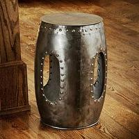 Tables - Steel Round Rivet Barrel Stool (India) | Overstock.com - round steel barrel stool, steel barrel stool, riveted steel stool, round riveted steel barrel stool,