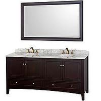Bath - Audrey Espresso 72-Inch Solid Oak Double Bathroom Vanity | Overstock.com - espresso solid oak double vanity, espresso stained double bathroom vanity with carrera marble countertops, contemporary double bathroom vanity with carrera marble counter, solid oak espresso stained double vanity,