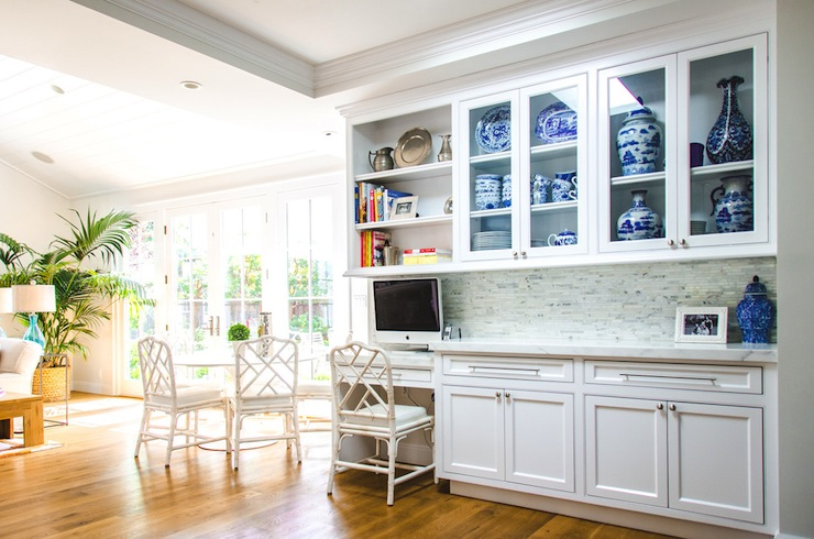White faux bamboo chair transitional kitchen evars for Anderson kitchen cabinets