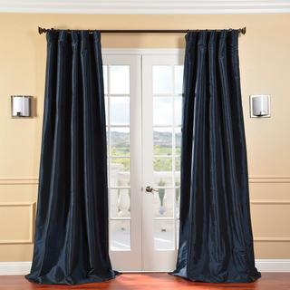 Window Treatments - Solid Faux Silk Taffeta Navy Blue 84-inch Curtain Panel | Overstock.com - navy blue faux silk curtains, navy blue curtains, navy blue faux silk drapes, navy blue drapes, navy blue faux silk taffeta drapes, navy blue faux silk taffeta curtains,