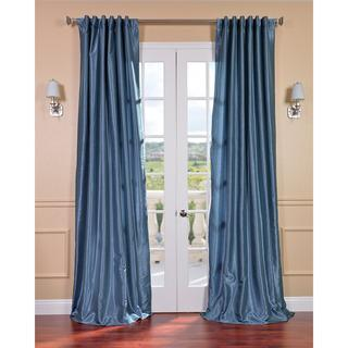 Window Treatments - Provencial Blue Vintage Faux Dupioni Silk 108-inch Curtains | Overstock.com - blue faux dupioni silk drapes, blue faux silk drapes, blue faux dupioni silk curtains, blue faux silk curtains,