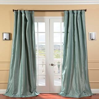 Window Treatments - Solid Faux Silk Taffeta Robin's Egg 84-inch Curtain Panel | Overstock.com - robins egg colored drapes, faux silk taffeta robins egg drapes, faux silk robins egg curtains,