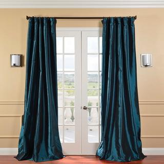 Window Treatments - Solid Faux Silk Taffeta Mediterranean 84-inch Curtain Panel | Overstock.com - peacock drapes, faux silk peacock drapes, faux silk taffeta peacock drapes, peacock curtains, peacock blue drapes, peacock blue drapes