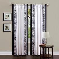 Window Treatments - Lush Decor White/ Black 84-inch Metropolitan Curtain Panel | Overstock.com - white faux silk drapes with black greek key border, white drapes with black greek key border, black and white faux silk curtains,