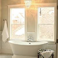 White & Gold Design - bathrooms - light gray walls, light gray paint, light gray paint color, light gray bathroom walls, subway tile backsplash, subway tile bathroom, freestanding tub, floor mount tub filler, marble tile floor, chandelier over tub, chandelier over bathtub, chandelier above tub, chandelier above bathtub, crystal chandelier over tub, crystal chandelier over bathtub, crystal chandelier above tub, crystal chandelier above bathtub, spa like bathroom, overstock chandeliers, overstock bathroom chandeliers, bathroom chandeliers, Overstock Cone Shape 4-light Matte Silver Crystal Chandelier,