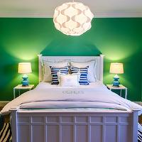Evars and Anderson - girl's rooms - emerald green walls, bright green walls, emerald green wall color, Brighton White Bed, white bed, white bedding, white monogrammed bedding, white and green monogrammed bedding, monogrammed bed linens, white euro shams, black and white rug, zebra print rug, small white side tables, blue gourd lamps, blue table lamps, fillsta pendant Ikea, modern pendant, hardwood floors, moroccan poufs, teal moroccan poufs, blue and white moroccan tile drapes, blue and white moroccan tile curtains, moroccan leather poufs, blue and white striped pillows, teen bedroom, teen girls room, teen girls bedroom, moorish tile, moorish tile drapes, moorish tile drapes, moorish tile window panels, white and blue curtains, white and blue drapes, white and blue moorish tile curtains, white and blue moorish tile drapes, moroccan curtains, moroccan drapes, white and blue moroccan curtains, white and blue moroccan drapes, moroccan tile curtains, moroccan tile drapes, quatrefoil drapes, quatrefoil curtains, white and blue quatrefoil curtains, Crate and Barrel Brighton White Bed,