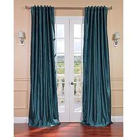 Window Treatments - Peacock Vintage120-inch Faux Dupioni Silk Curtain Panel | Overstock.com - peacock blue drapes, peacock blue curtains, peacock blue faux silk drapes, peacock blue faux silk curtains,