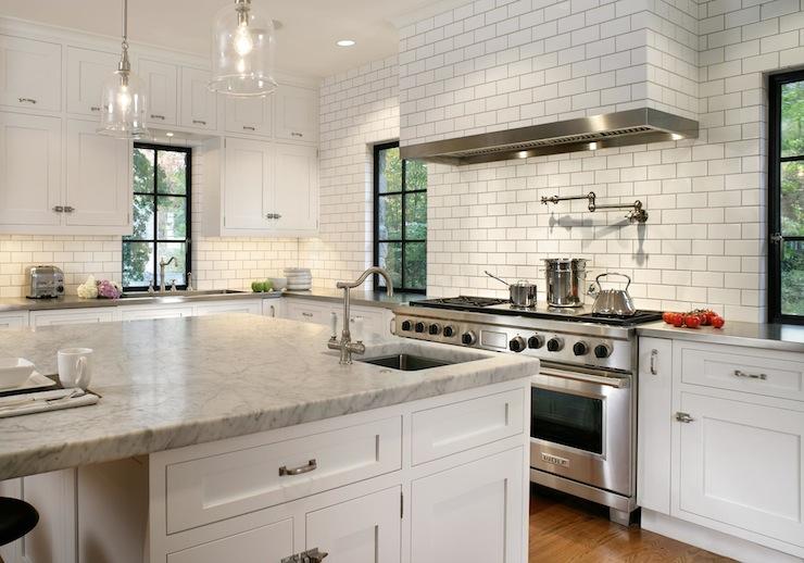 Subway tiled kitchen hood transitional kitchen canterbury design - Pic of kitchen ...