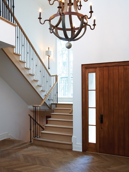 Wood Foyer Lighting : Herringbone wood floor traditional entrance foyer