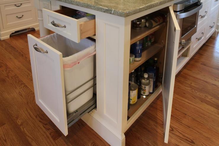 kitchen island garbage can transitional kitchen