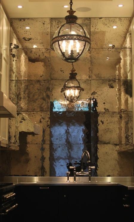 Antiqued Mirrored Backsplash Contemporary Kitchen