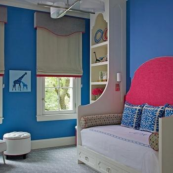Northworks Architects - girl's rooms - girl room, girls room, girl bedroom, girls bedroom, blue and pink girl room, blue and pink girls room, blue and pink girl bedroom, blue and pink girls bedroom, blue walls, blue girls room, blue girls bedroom, day bed, built in daybed, storage daybed, cream daybed, girl daybed, girls daybed, pink headboard, white and blue pillows, monogrammed bedding, girls bedding, white and blue monogrammed bedding, bolster pillows, built in bookcase, cream built ins, cream bookcase, cream built in bookcase, built in bookshelf, cream bookshelf, cream built in bookshelf, moroccan silhouette bookshelf, moroccan silhouette bookcase, moroccan silhouette built ins, moroccan silhouette built in cabinets, moroccan bookcase, moroccan bookshelf, gray cornice box, striped roman shades, girl cornice box, girls cornice box, girl roman shade, girls roman shades, girl window treatments, girls window treatments, wall to wall carpeting, gray carpeting, gray wall to wall carpeting, white tufted chair, leather chair, white leather chair, tufted ottoman, white ottoman, white tufted ottoman, chic girs room, chic girls bedroom,