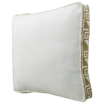 Pillows - Nate Berkus for Target Embossed Decorative Pillow - Target - white and gold pillow, embossed white pillow, white pillow with greek key trim, white pillow with gold greek key trim,