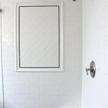 Classic Casual Home - bathrooms - subway tile, subway tile shower, subway tile shower surround, shower design, corner shower bench, herringbone subway tile, subway tile pattern, glass shower, subway tile patterns,
