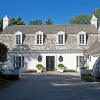 Northworks Architects - home exteriors - stucco home, white stucco home, gray shingles, french doors,  Gorgeous white stucco home with gray shingled