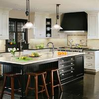 Canterbury Design - kitchens - black an white kitchen, white and black kitchen, white cabinets, perimeter cabinets, perimeter kitchen cabinets, white perimeter cabinets, black granite, granite, granite countertops, black granite countertops, kitchen island, black kitchen island, center island, black center island, beadboard, beaboard trim, beadboard island, beadboard kitchen island, black beadboard trim, black beadboard kitchen island, prep sink, island prep sink, kitchen island prep sink, sawhorse stools, saddle stools, espresso floors, espresso wood floors, kitchen island storage, black kitchen hood, mosaic tile, mosaic tile backsplash, window moldings, moldings, black moldings, black window moldings, farmhouse sink, modern gooseneck faucet,
