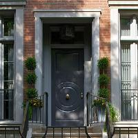 Northworks Architects - home exteriors - home exterior, row house, red brick exterior, blue door, blue front door,  Beautiful Chicago row house