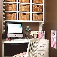 My Home Ideas - girl's rooms: pink and brown office, girls work space, girls task space, girl desk, girls desk, chocolate brown walls, built in desk, white desk, built ins, white built ins, built in cabinets, overhead cabinets, white cubbies, desk cubby, desk cubbies, woven bins, woven baskets, white desk chair, desk chair, bulletin board, pink bulletin board, geometric bulletin board, pink geometric bulletin board, pink accents, office accents, pink office accents, well organized office, magnetic board, magnetic office supply board, magnetic office accessory board,