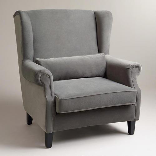 Seating - Charcoal Graham Chair-and-a-Half | World Market - charcoal gray armchair, gray velvet armchair, gray velvet wingback armchair,