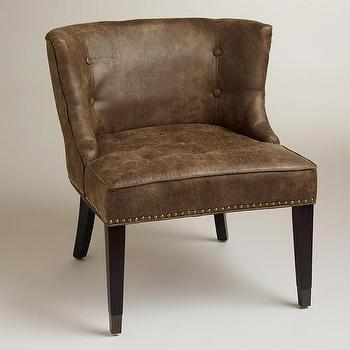 Seating - Bennett Chair | World Market - leather chair, bic-cast leather chair, distressed bi-cast leather chair, leather chair with nailhead trim,